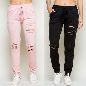 VANNA Distressed Joggers - PINK/BLACK